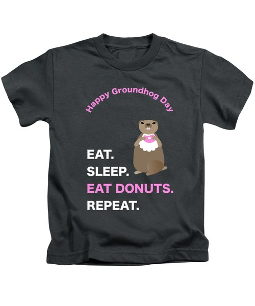 Groundhog Day Eat Sleep Eat Donuts Repeat Kids T-Shirt