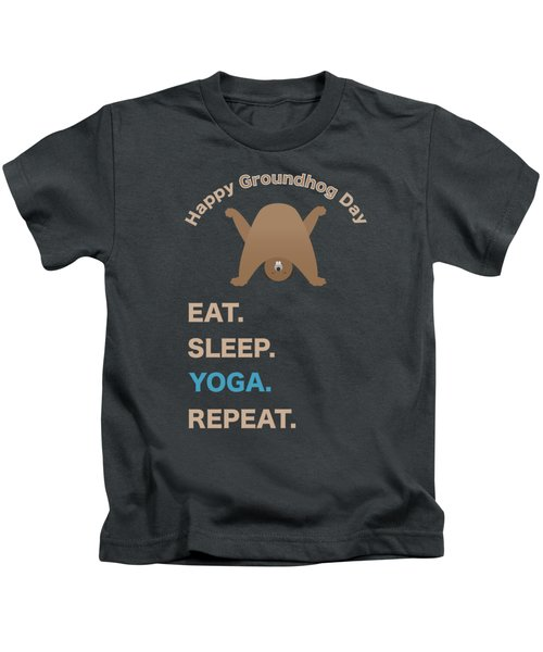 Groundhog Day Eat Sleep Yoga Repeat Kids T-Shirt