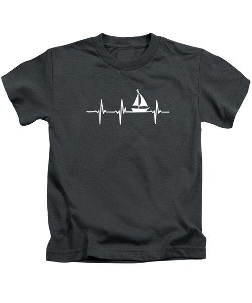 Heartbeat Sailing T-shirt For Sailors With Sailboat Kids T-Shirt