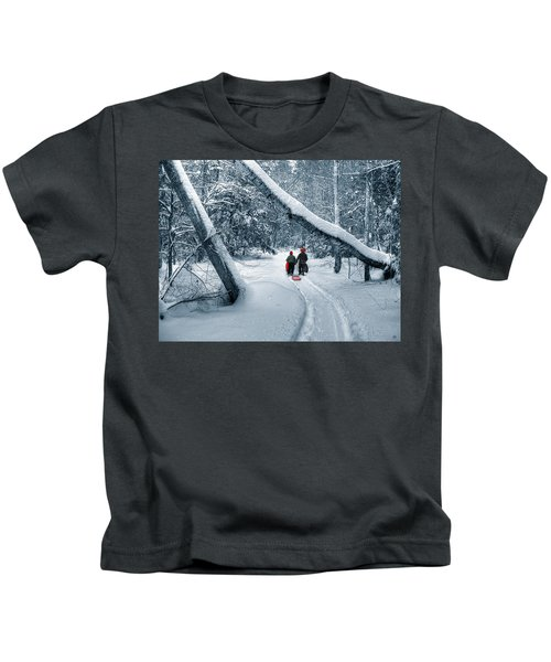 Hiking Into The Gully Kids T-Shirt