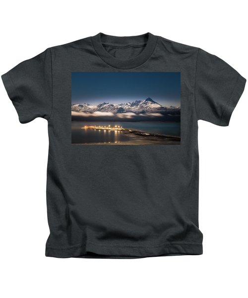 Homer Spit With Moonlit Mountains Kids T-Shirt