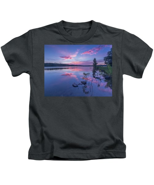 Horn Pond Sunset Kids T-Shirt