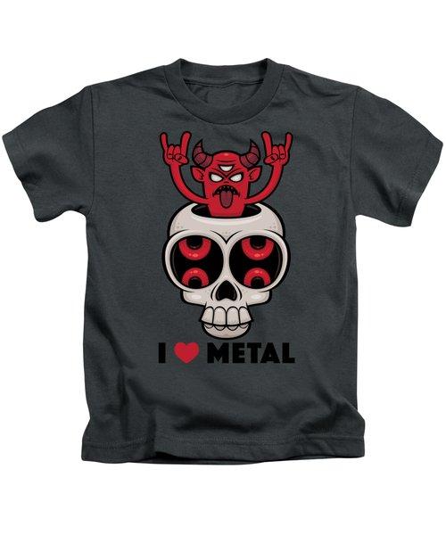 I Love Metal Possessed Skull Kids T-Shirt