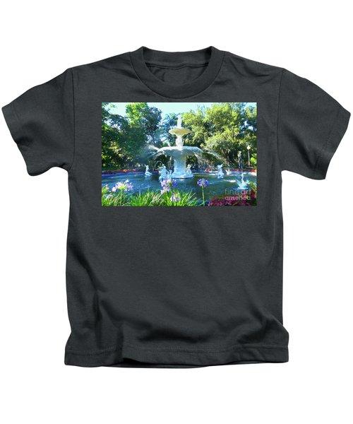 Impressionist Forsyth Park Fountain Kids T-Shirt