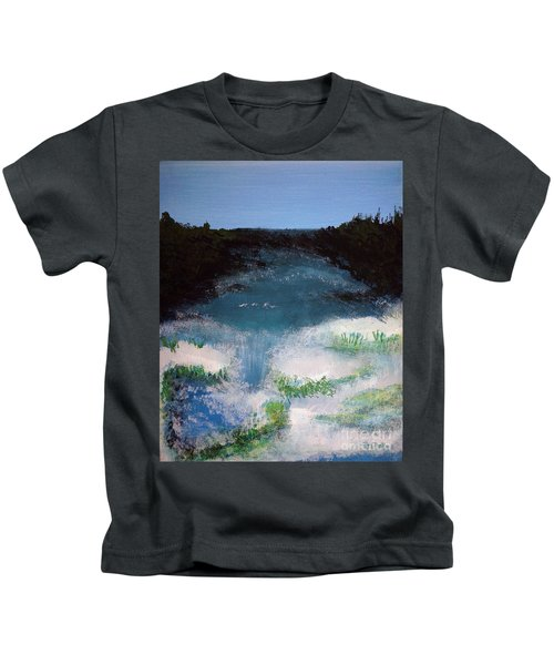 Island Escape Mixed Media Painting Kids T-Shirt