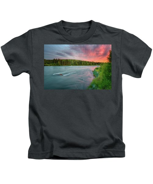 Kenai River Alaska Sunset Kids T-Shirt
