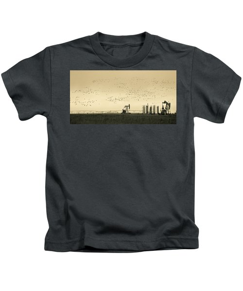 Large Flock Of Birds And Oil Rigs Kids T-Shirt
