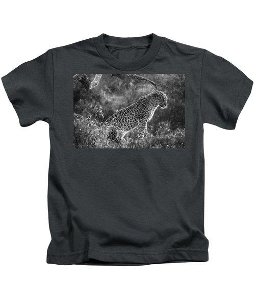 Leopard Sitting Black And White Kids T-Shirt
