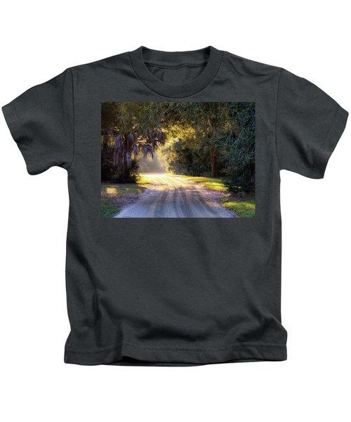 Light, Shadows And An Old Dirt Road Kids T-Shirt