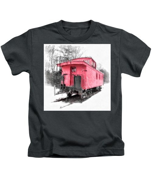 Little Red Caboose Watercolor Kids T-Shirt