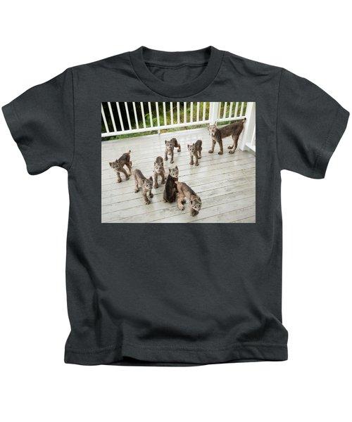 Lynx Family Portrait 11x14 Kids T-Shirt