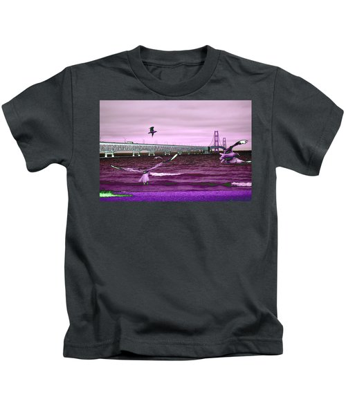 Mackinac Bridge Seagulls Kids T-Shirt