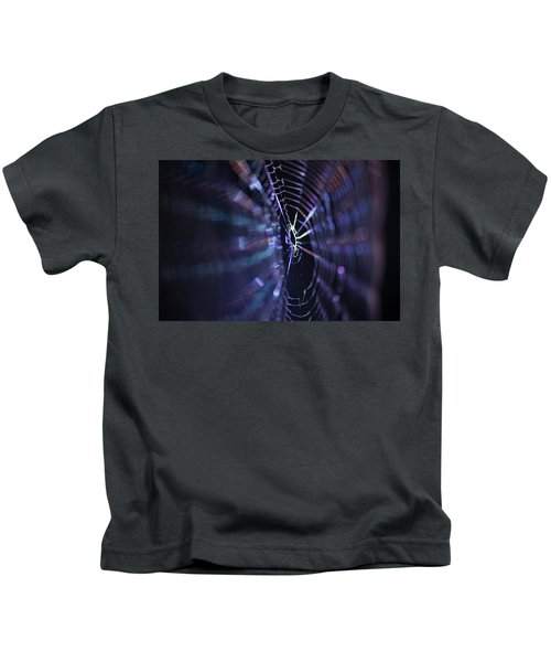 Macro Of A Spiders Web Captured At Night. Kids T-Shirt