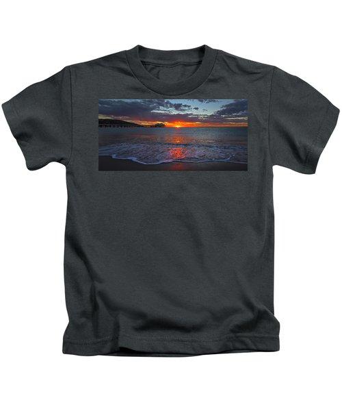Malibu Pier Sunrise Kids T-Shirt
