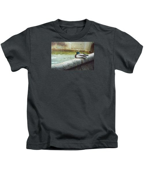 Mallard Resting On The Fountain Of The Fallen Angel In The Retiro Park - Madrid, Spain Kids T-Shirt