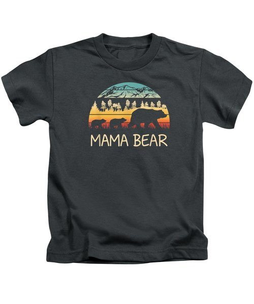 Mama Bear With 2 Cubs Shirt Retro Mountains Mother's Day Kids T-Shirt