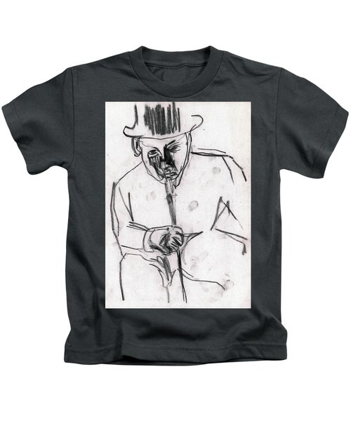 Man In Top Hat And Cane Kids T-Shirt