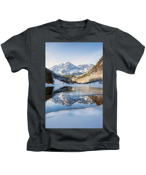 Maroon Bells Reflection Winter Kids T-Shirt