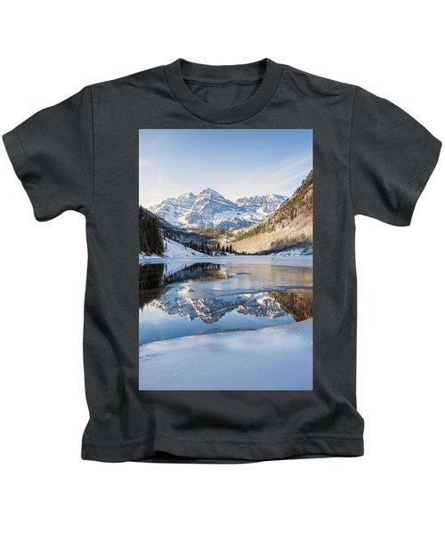 Maroon Bells Reflection Winter Kids T-Shirt