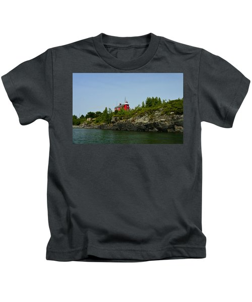 Marquette Michigan Lighthouse Kids T-Shirt