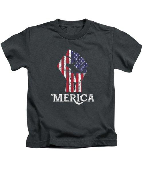 Merica American Flag Shirt- 4th July Independence Day Tshirt Kids T-Shirt