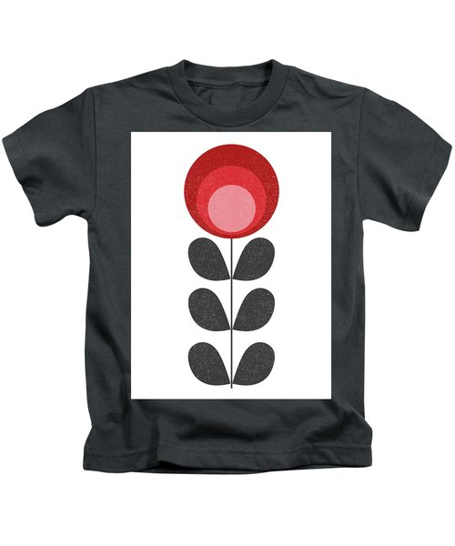 Mid Century Modern Red Flower II Kids T-Shirt