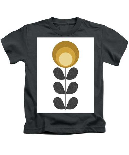 Mid Century Modern Yellow Flower I Kids T-Shirt