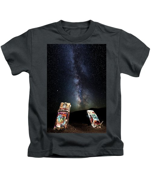 Milky Way Over Mojave Desert Graffiti 1 Kids T-Shirt