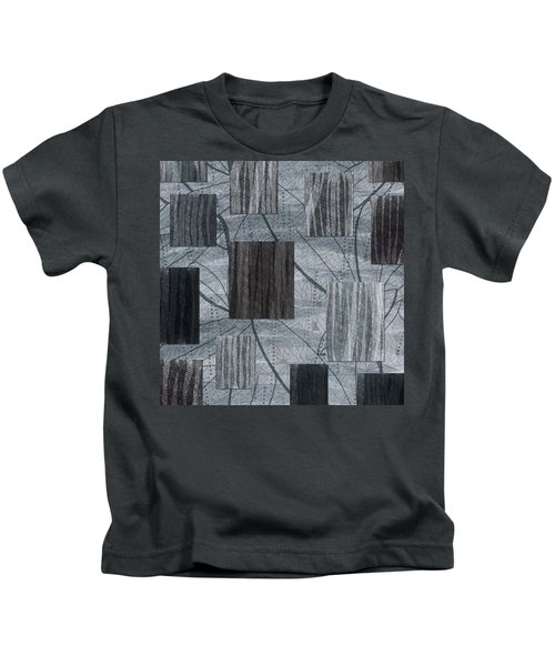 Neutral Toned Leaf Square Print Kids T-Shirt