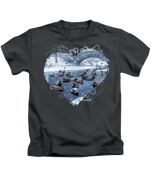 New York City Central Park Winter Ducks Kids T-Shirt