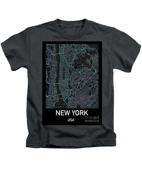 New York City Map Black Edition Kids T-Shirt
