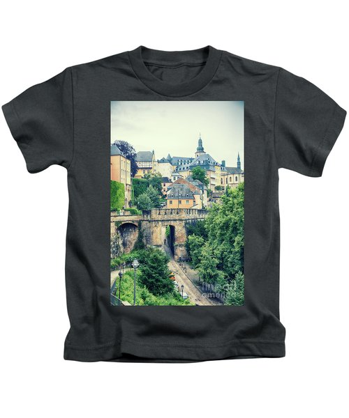 old city Luxembourg from above Kids T-Shirt