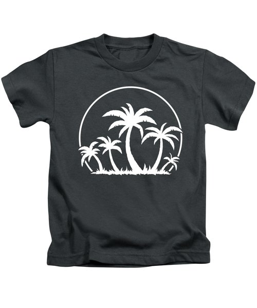 Palm Trees And Sunset In White Kids T-Shirt