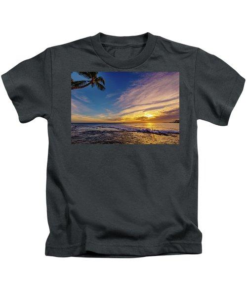 Palm Wave Sunset Kids T-Shirt