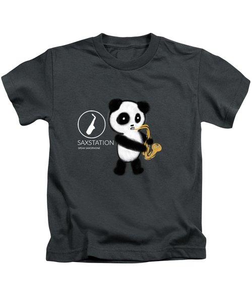 Panda Playing Saxophone Kids T-Shirt