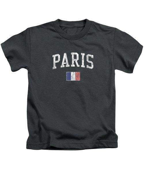 Paris France T-shirt Vintage Sports Design French Flag Tee Kids T-Shirt