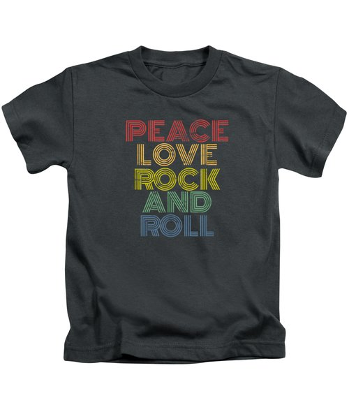 Peace Love Rock And Roll T-shirt Distressed Rock Concert Tee Kids T-Shirt