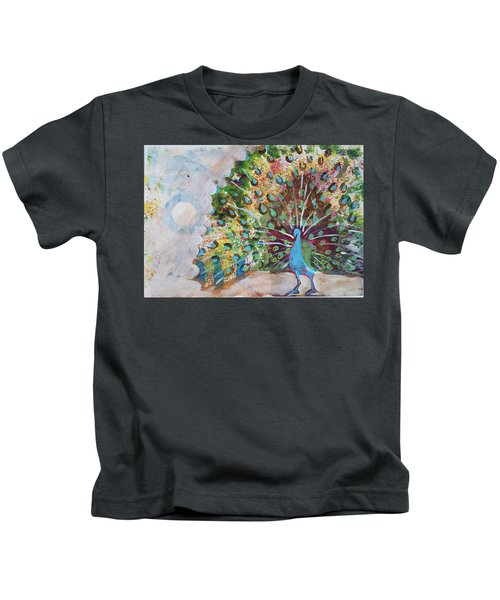 Peacock In Morning Mist Kids T-Shirt