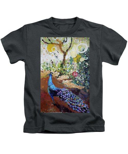 Peacock On Path Kids T-Shirt