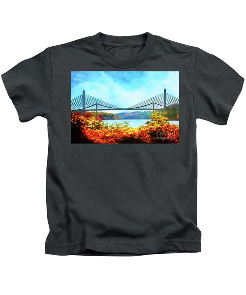 Penobscot Narrows Bridge In Autumn Kids T-Shirt