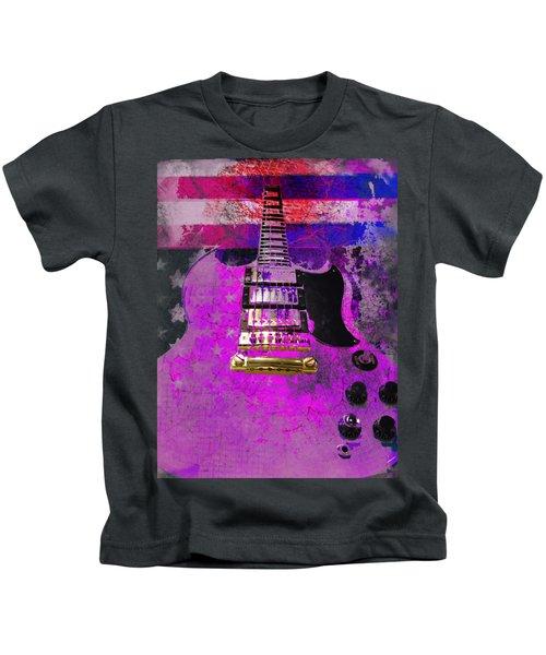 Pink Guitar Against American Flag Kids T-Shirt