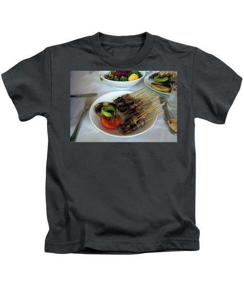 Plate Of Kebabs And Salad For Lunch Kids T-Shirt