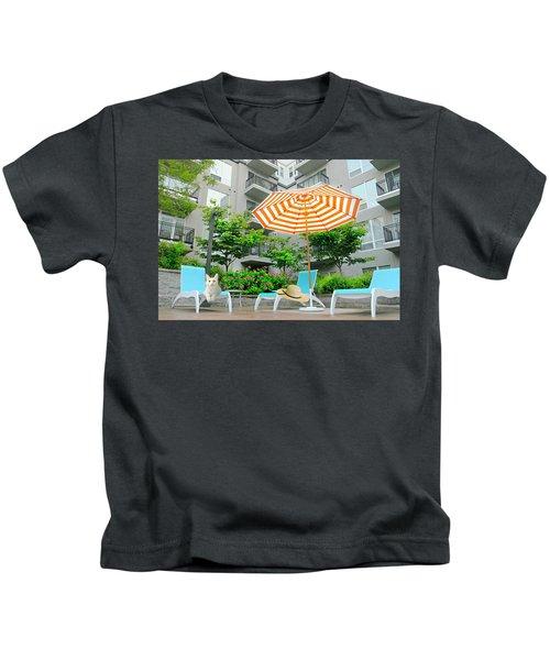 Pool Side Tabby Kids T-Shirt