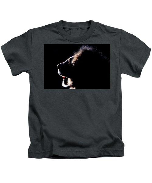 Portrait Of A Backlit Male African Lion Kids T-Shirt