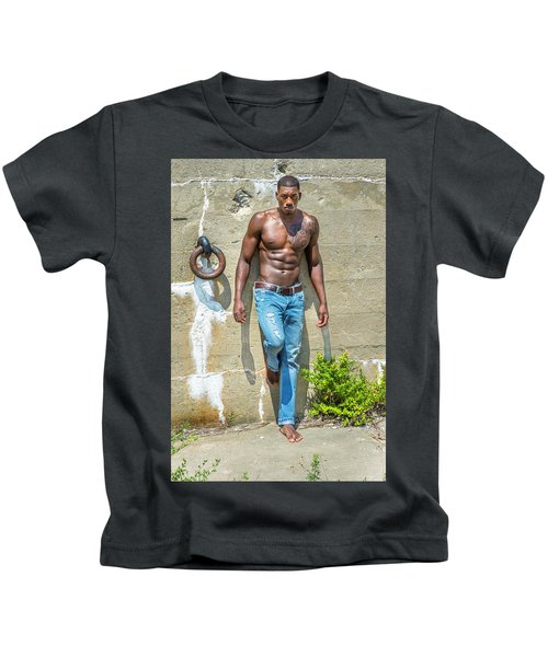 Portrait Of  Young Black Fitness Guy Kids T-Shirt