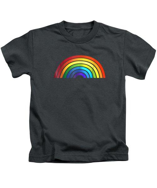 Rainbow T-shirt Simple Style Basic Glossy Stripe Design Kids T-Shirt
