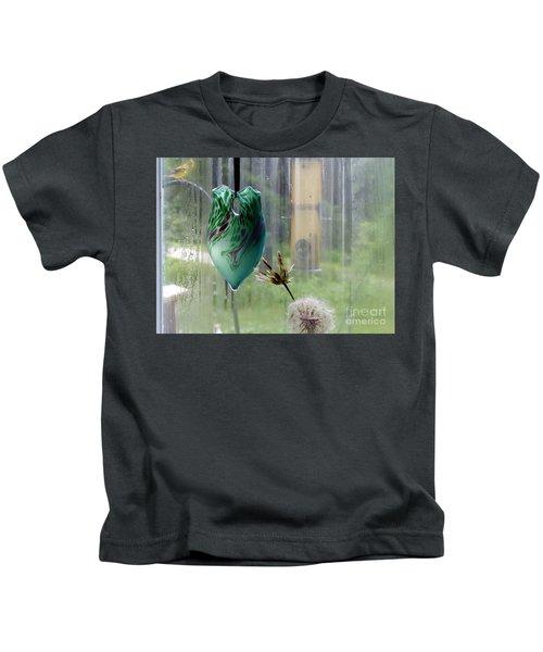 Rainy Morning At The Bird Feeder Kids T-Shirt