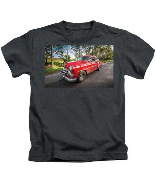 Red Classic Cuban Car Kids T-Shirt