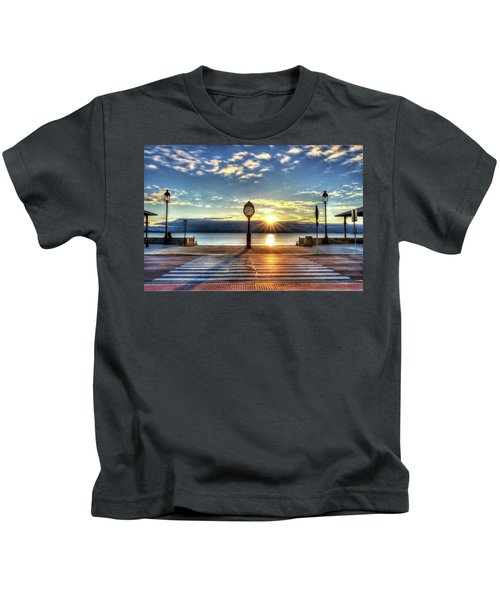Revere Beach Clock At Sunrise Angled Long Shadow Revere Ma Kids T-Shirt