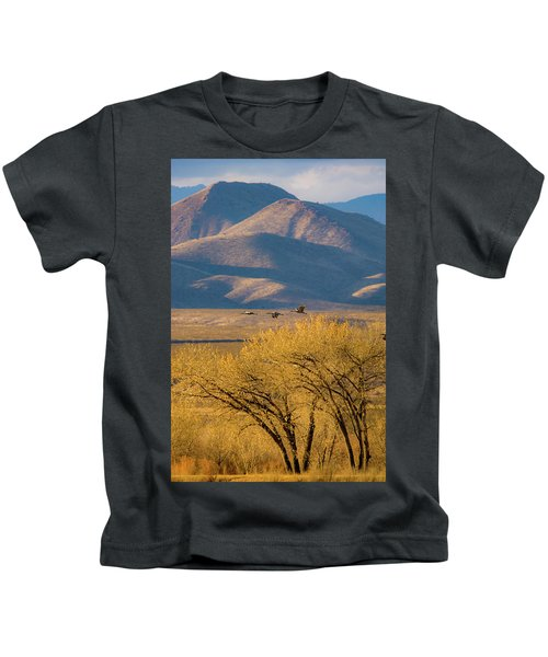 Sandhill Cranes Near The Bosque Kids T-Shirt